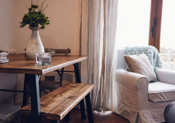 A side table and a sofa