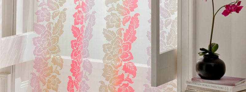 colourful voile curtain with flowers